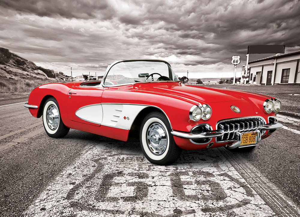 1959 Corvette - Driving Down Route 66 Cars Jigsaw Puzzle