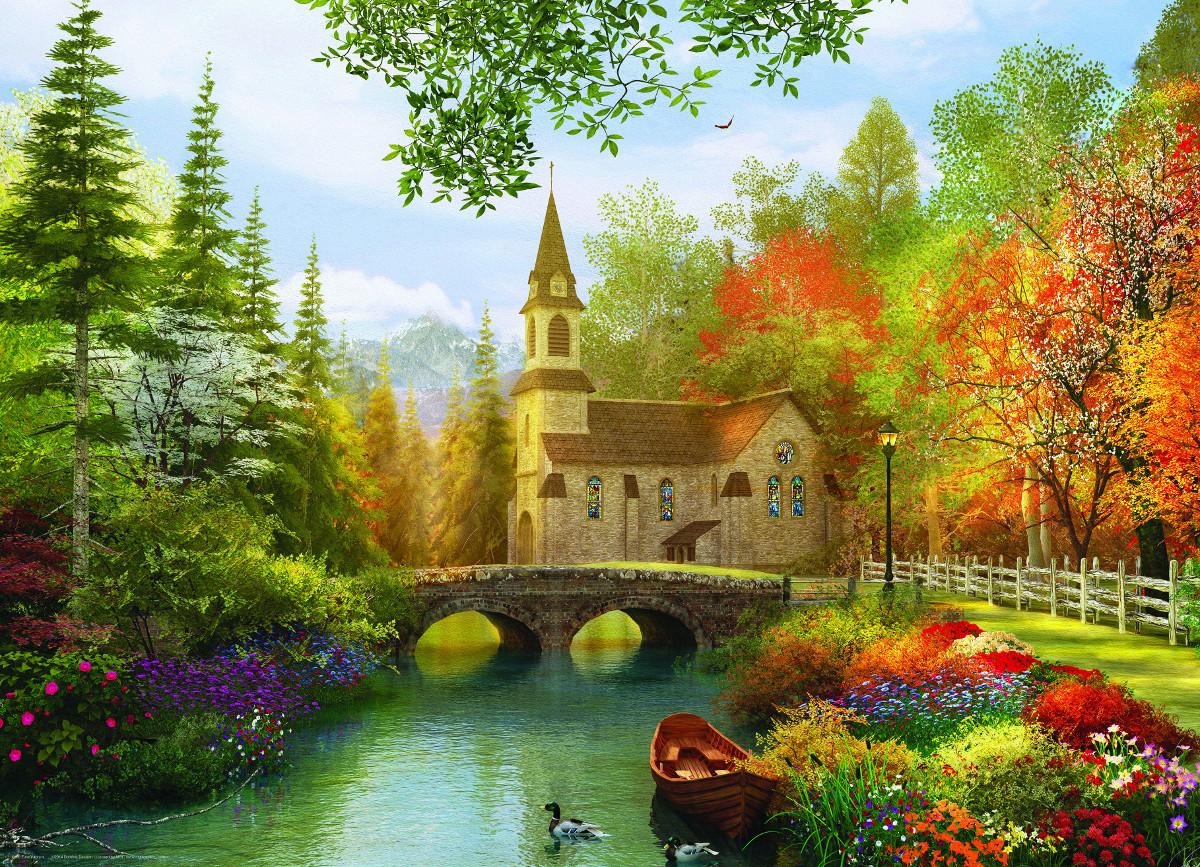 Autumn Church Small Box Jigsaw Puzzle Puzzlewarehouse Com