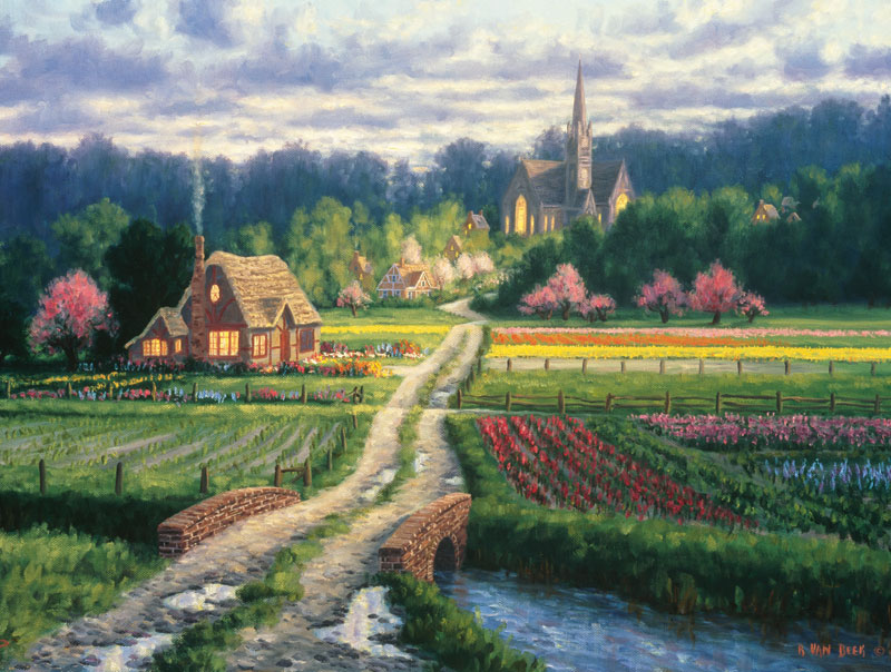 English Cottage Countryside Jigsaw Puzzle