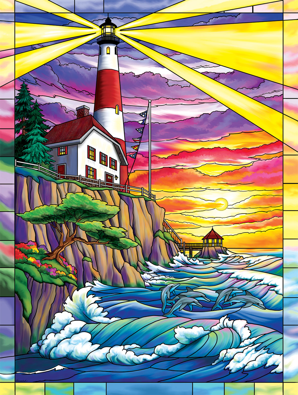 Dolphin Bay Lighthouse Lighthouses Jigsaw Puzzle