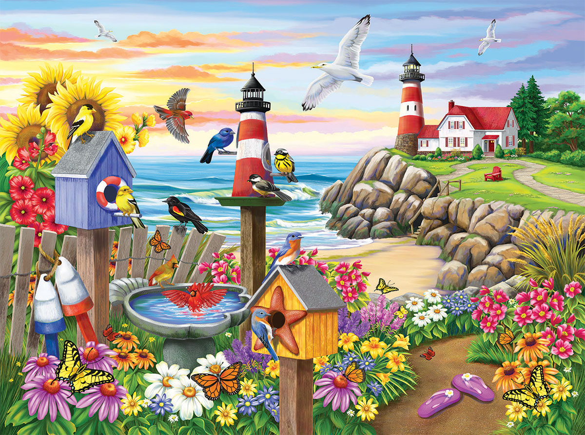 Garden by the Sea Seascape / Coastal Living Jigsaw Puzzle