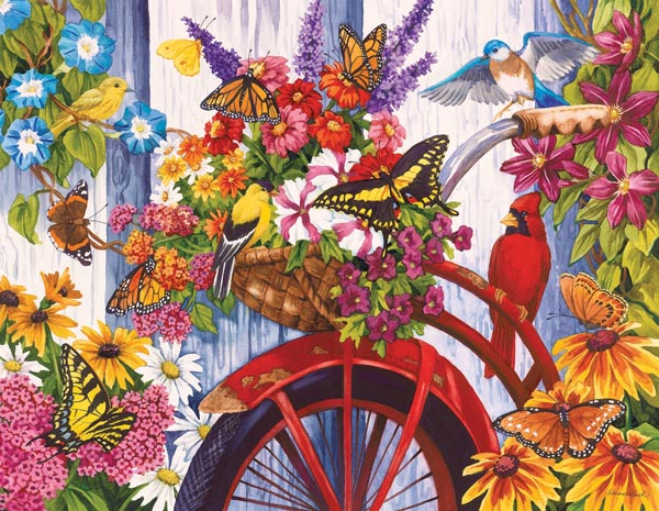 The Old Bicycle and Friends Birds Jigsaw Puzzle