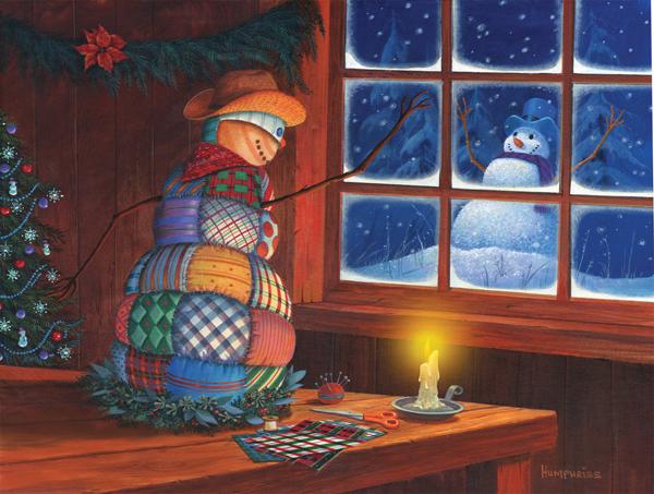Snowman Patches Snowman Jigsaw Puzzle