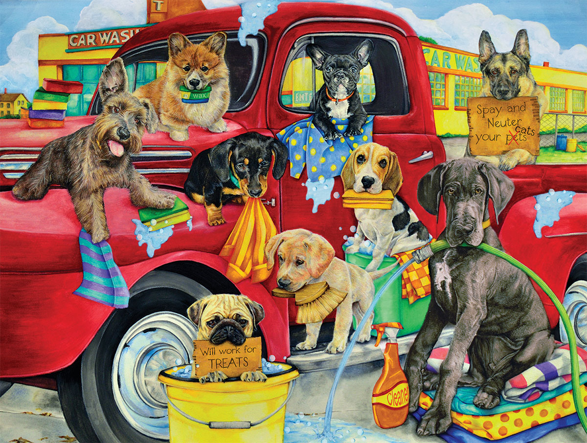 Puppy Car Wash Dogs Jigsaw Puzzle