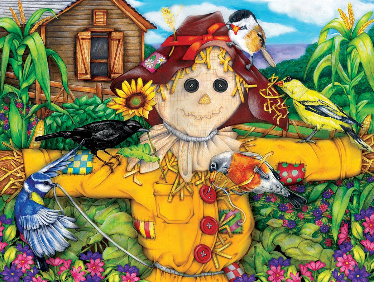 Scarecrow and Blackbird Farm Jigsaw Puzzle