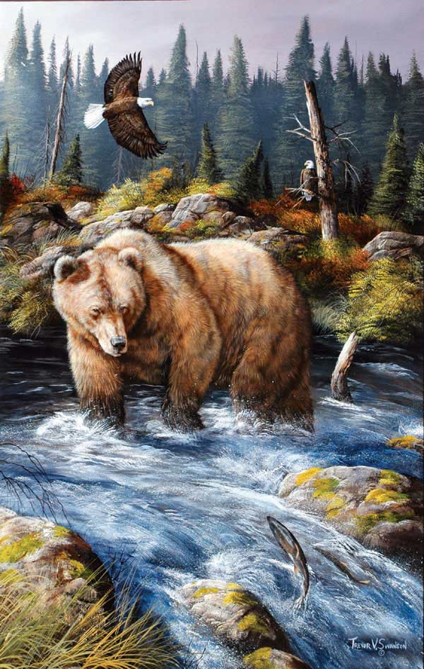 Busy Day at the Fishing Hole Bears Jigsaw Puzzle