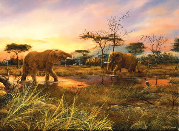 Elephants At The Watering Hole Jigsaw Puzzle