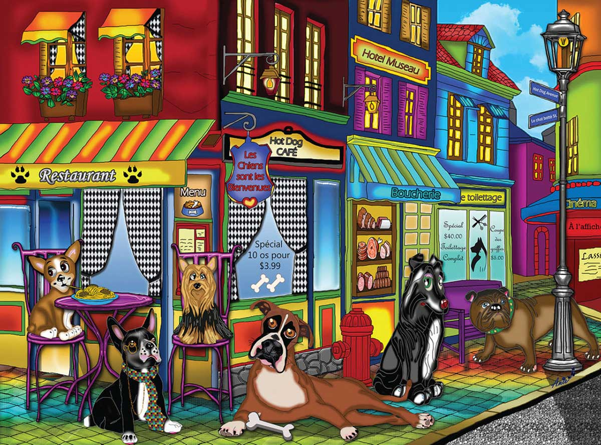 New Dogs On The Block Street Scene Jigsaw Puzzle