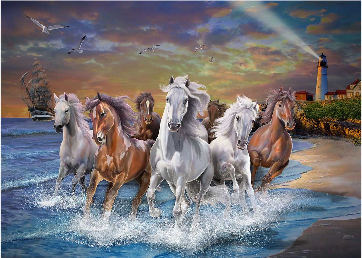 Horses on Seashore - Scratch and Dent Beach Jigsaw Puzzle