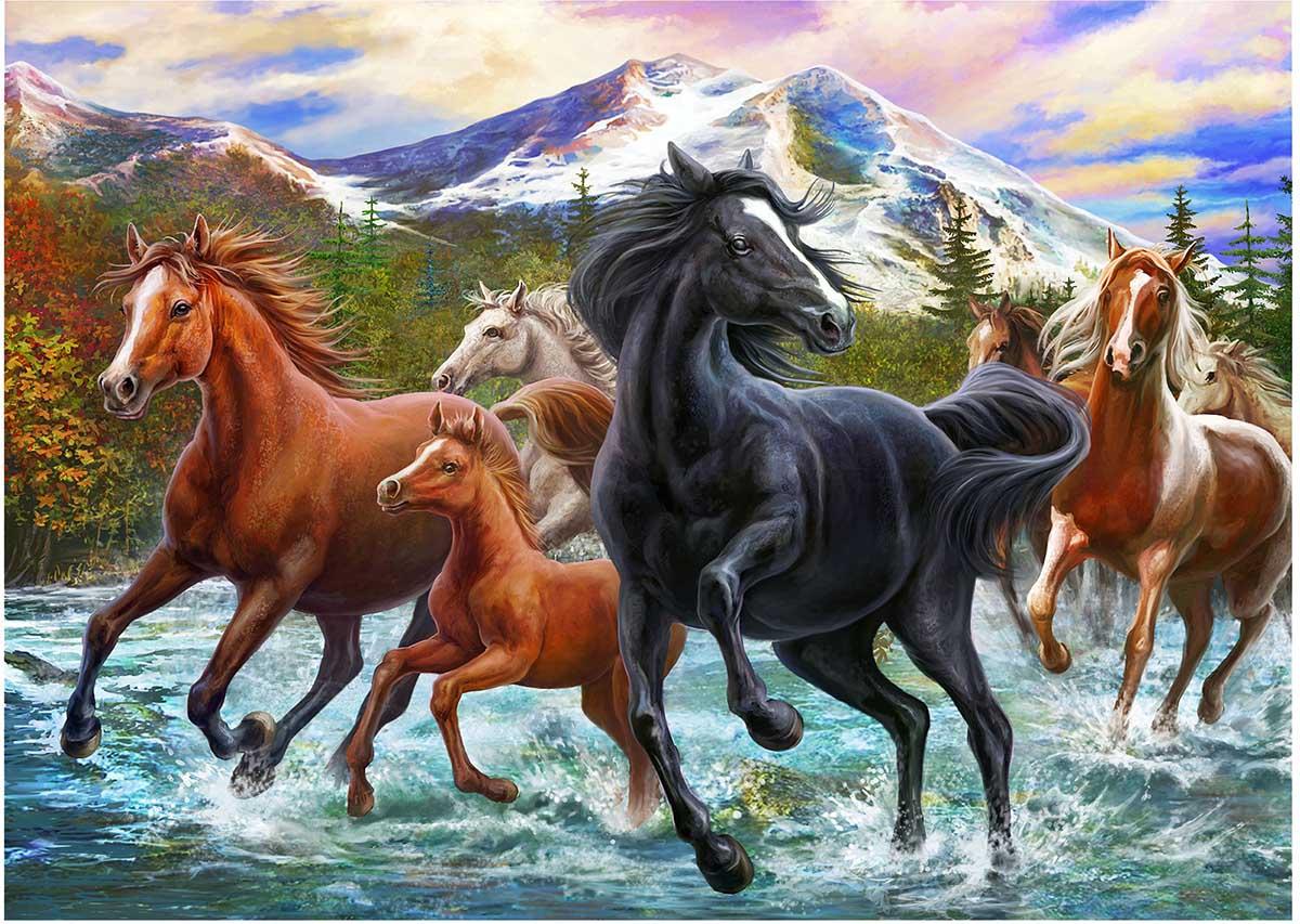 Black Stallion Friends Horses Jigsaw Puzzle