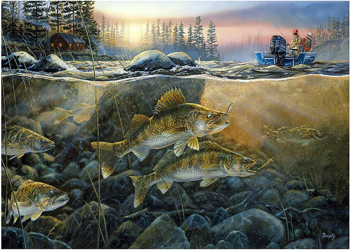 Walleye on the Rocks Fishing Jigsaw Puzzle