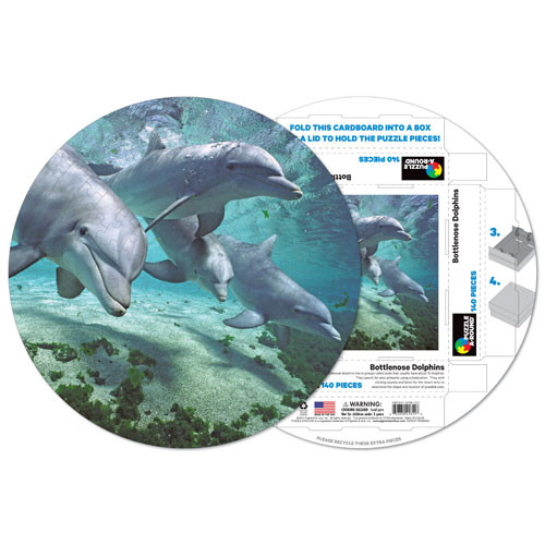 Bottlenose Dolphins Under The Sea Shaped Puzzle