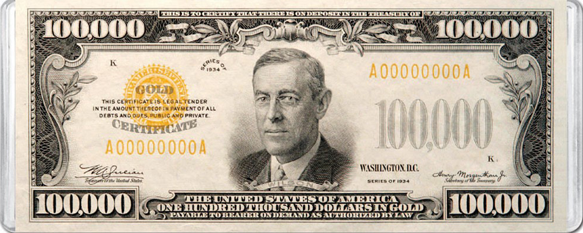 $100,000 Banknote MiniPix® Puzzle United States Jigsaw Puzzle