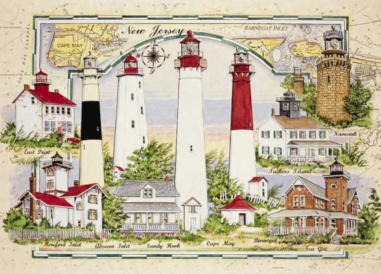 New Jersey 7 Lighthouses Chartmap Lighthouses Jigsaw Puzzle