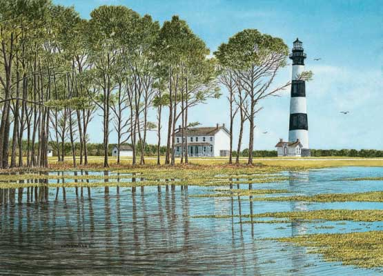 Bodie Island Reflections Lighthouses Jigsaw Puzzle