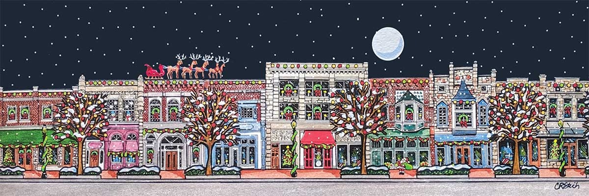 Main Street Christmas Street Scene Jigsaw Puzzle