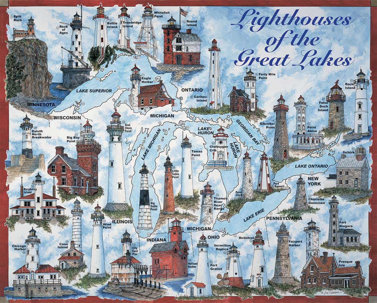 Great Lakes Lights Lighthouses Jigsaw Puzzle