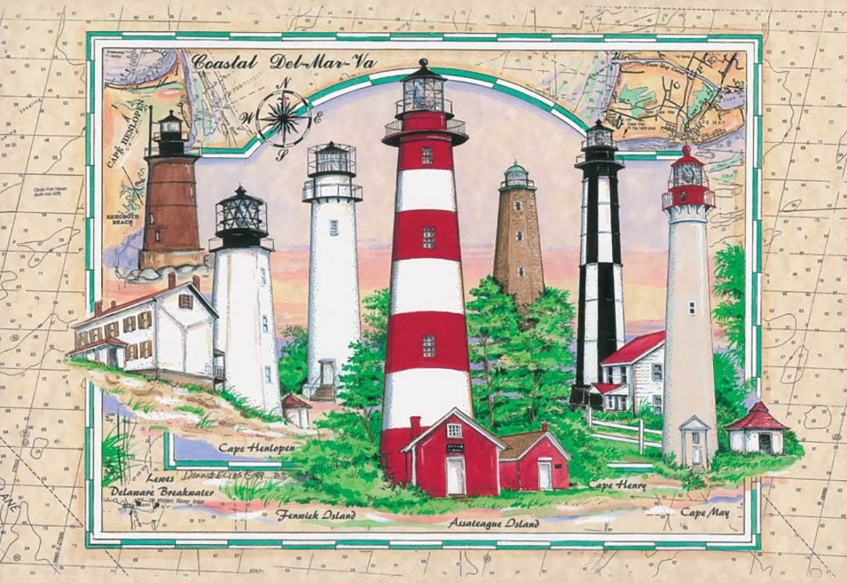 Coastal Del-Mar-Va Lighthouses Jigsaw Puzzle