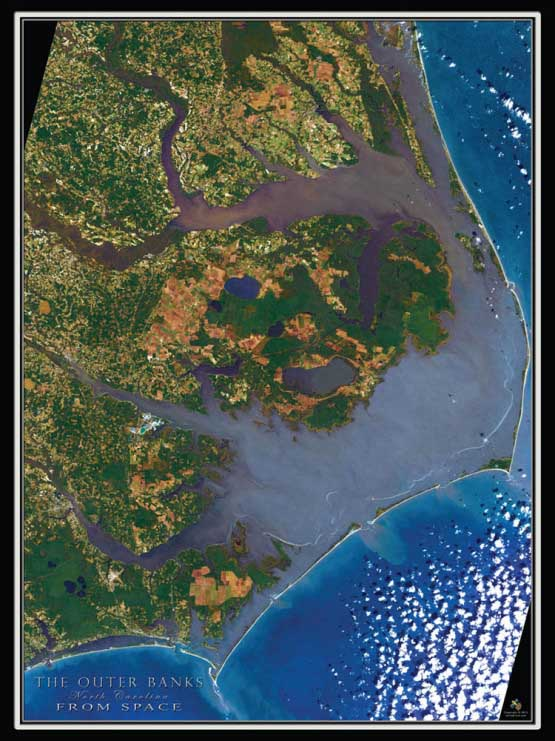 Outer Banks from Space Maps / Geography Jigsaw Puzzle