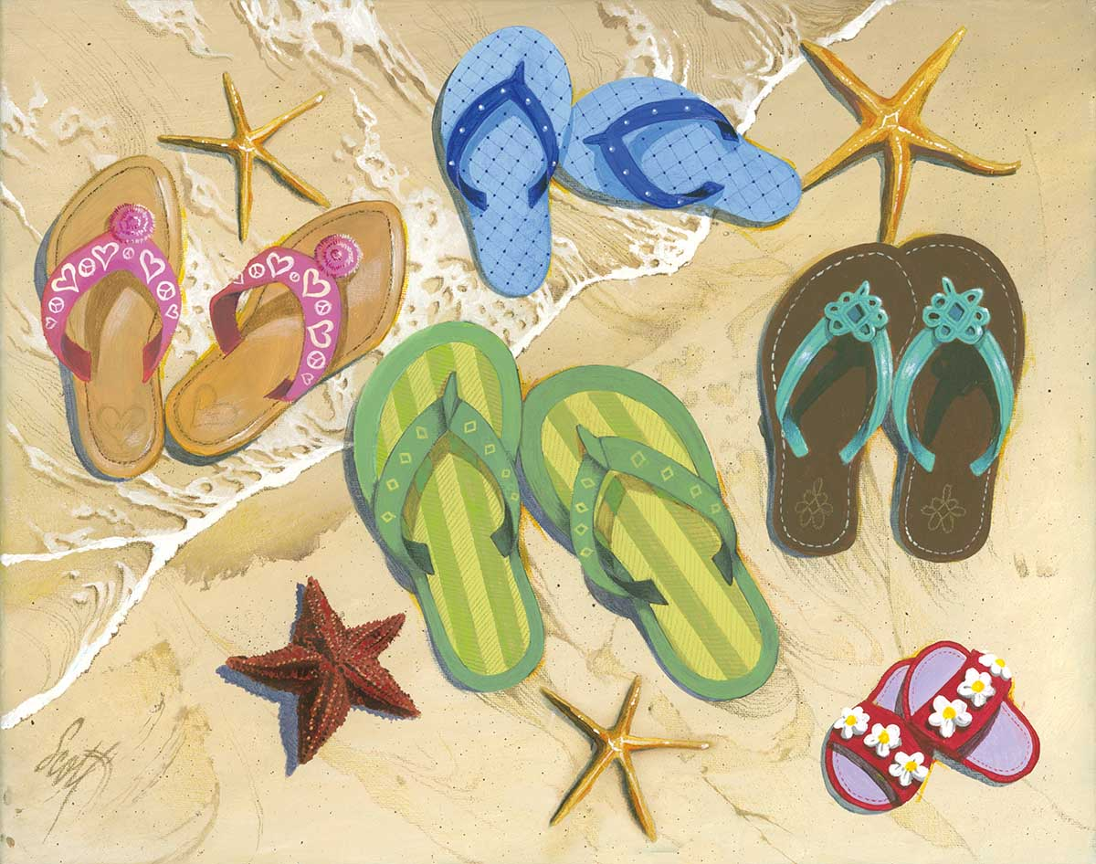 Flip Flop Family Beach Jigsaw Puzzle