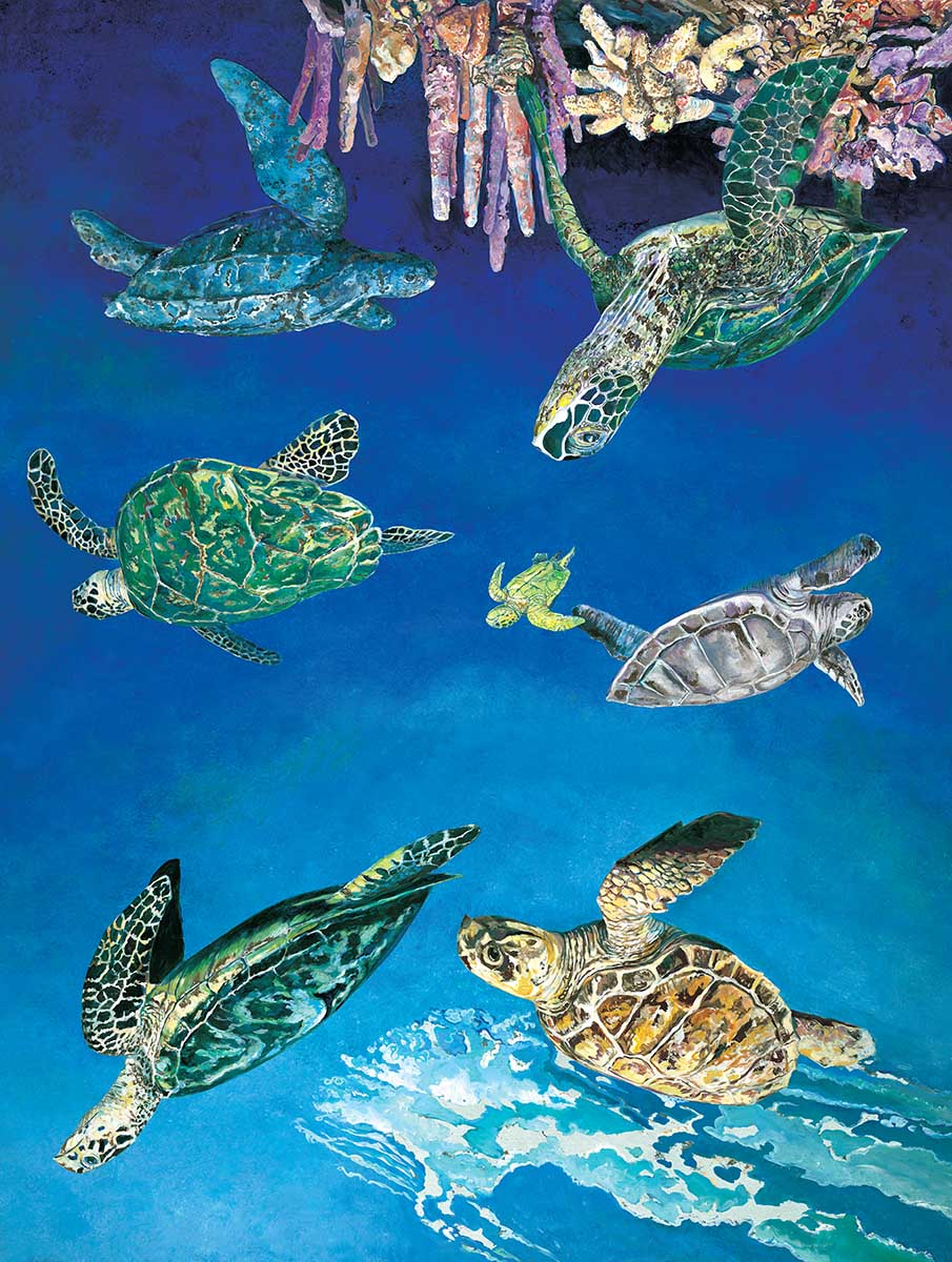 Majestic Sea Turtles Beach Jigsaw Puzzle