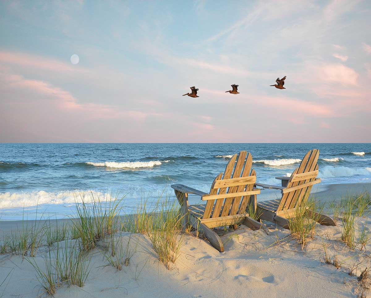 Coastal Moonrise Beach Jigsaw Puzzle