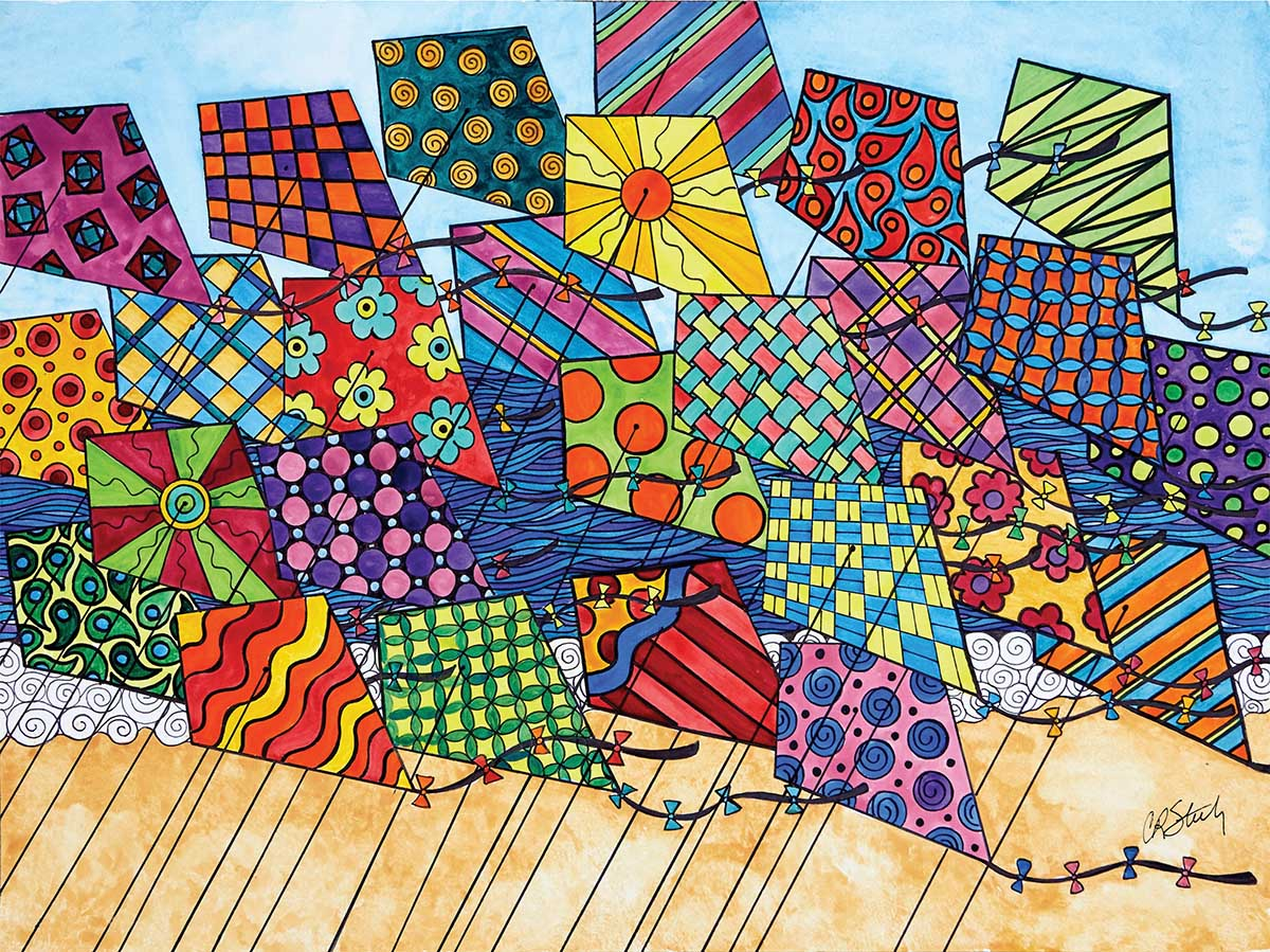 Let's Go Fly a Kite Beach Jigsaw Puzzle