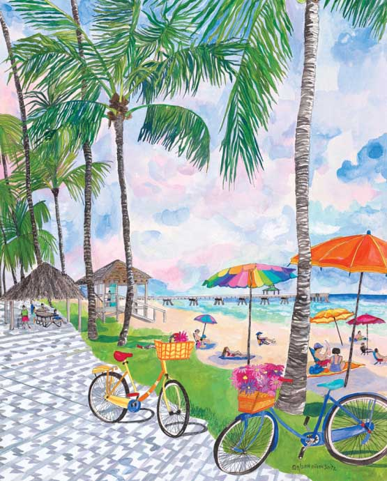 Bicycles with Baskets Beach Jigsaw Puzzle