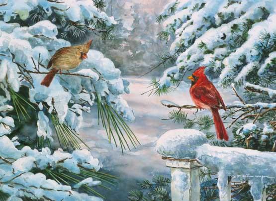 Winter Companions Birds Jigsaw Puzzle