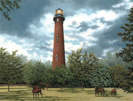 Wild Horses at Currituck Lighthouses Jigsaw Puzzle
