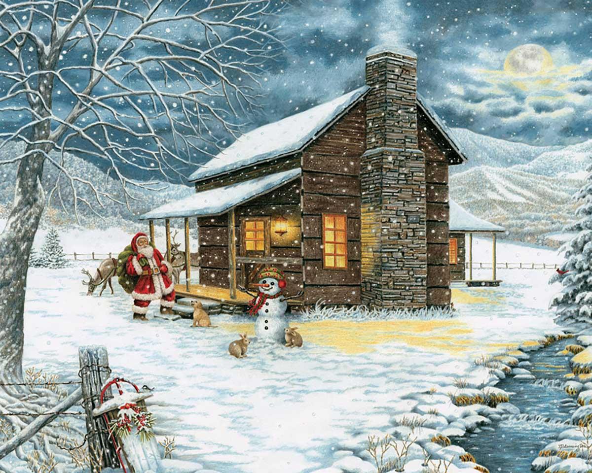 A Smoky Mountain Christmas Winter Jigsaw Puzzle
