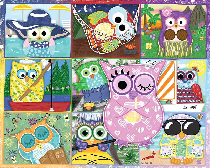 Owls on Vacation Birds Jigsaw Puzzle