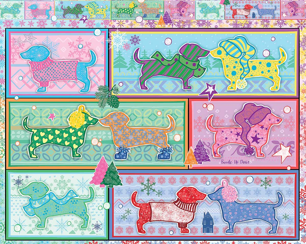 Bundle Up Doxie Dogs Jigsaw Puzzle