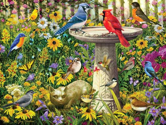 Garden Party Birds Jigsaw Puzzle