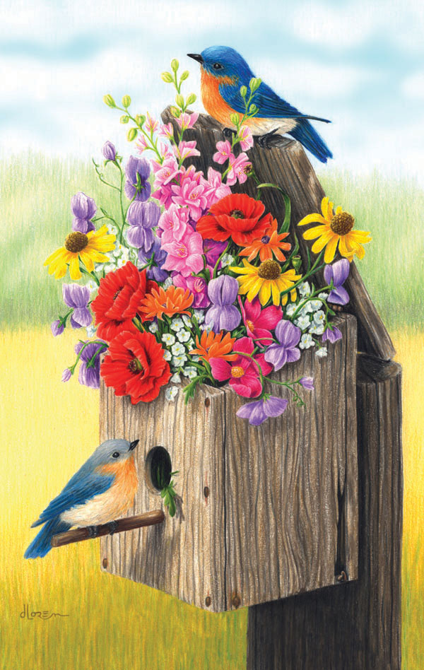 Bouquet for Bluebirds Birds Jigsaw Puzzle
