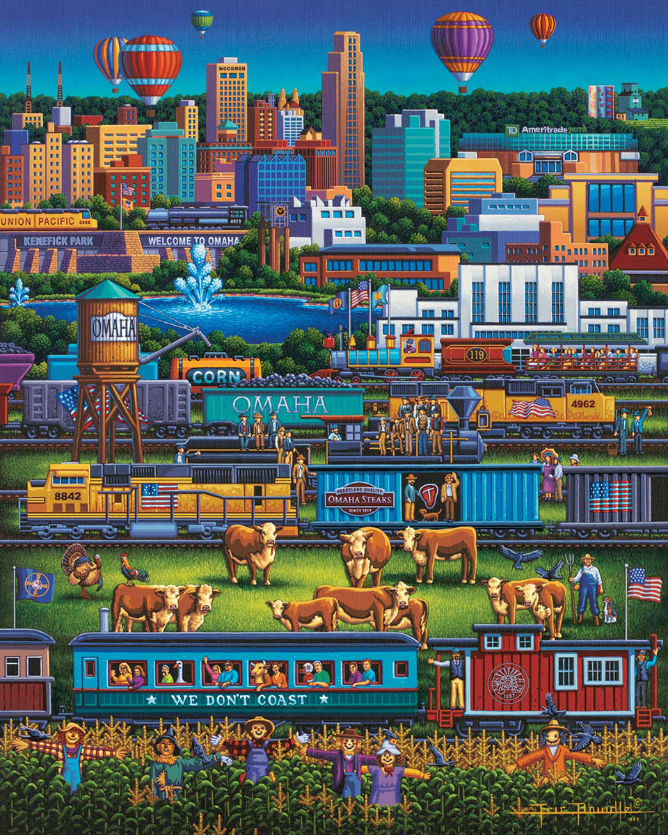 Omaha Trains Americana & Folk Art Jigsaw Puzzle