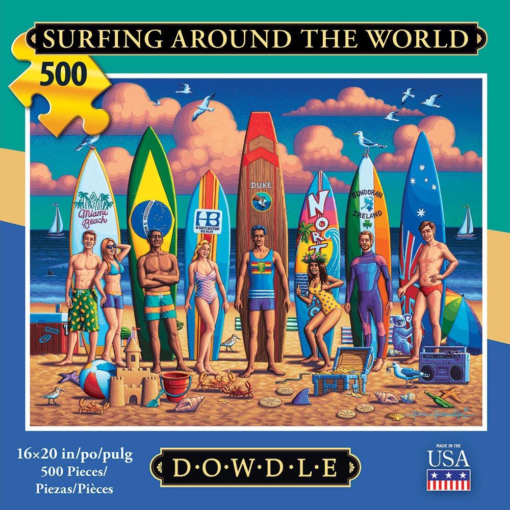 Surfing Around the World Americana & Folk Art Jigsaw Puzzle
