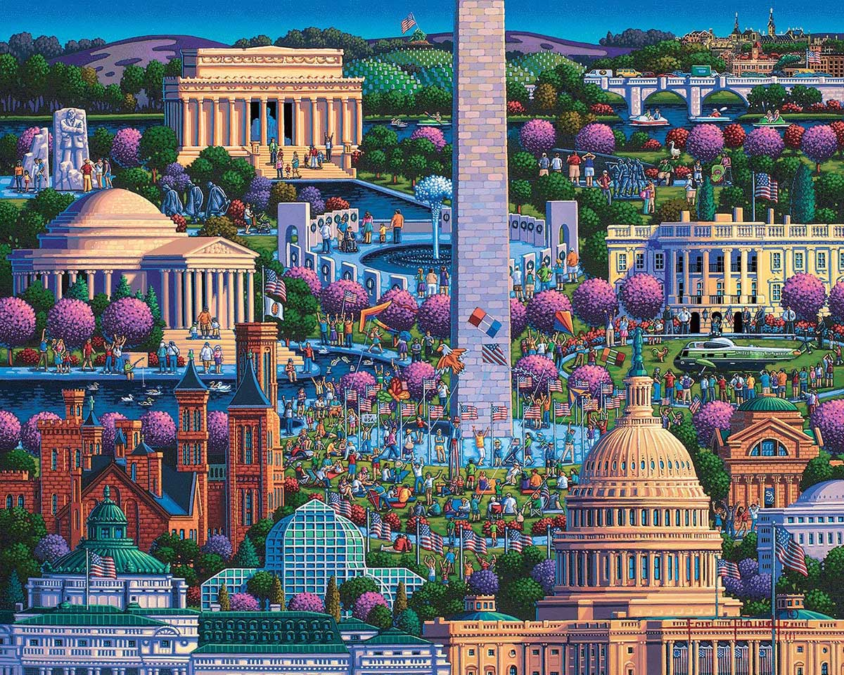 Washington DC Mall Americana & Folk Art Jigsaw Puzzle