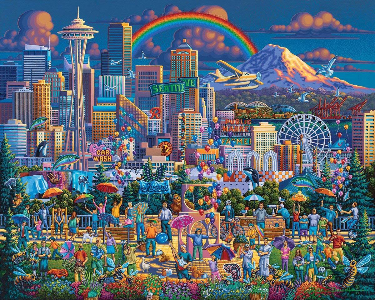 I Love Seattle Skyline / Cityscape Jigsaw Puzzle