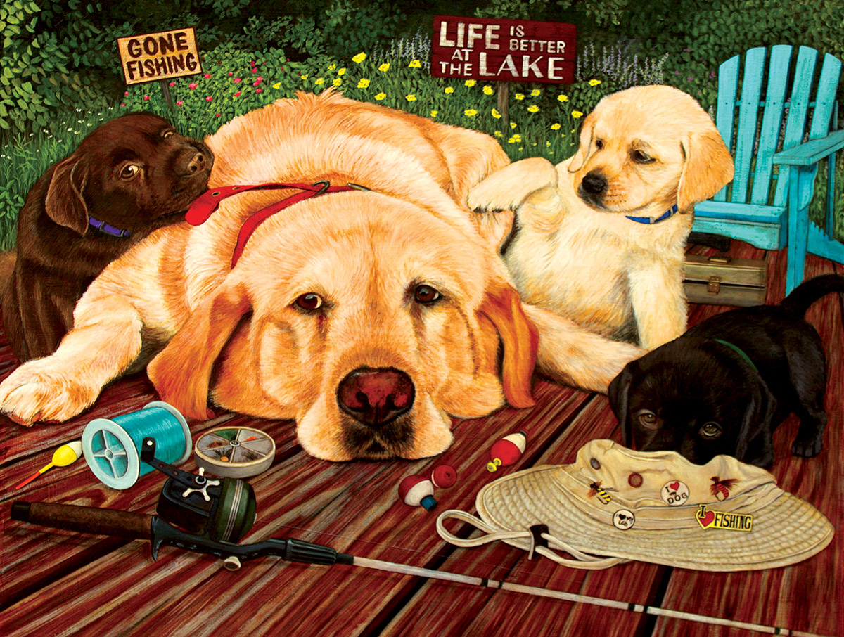 Life is Better at the Lake Dogs Jigsaw Puzzle