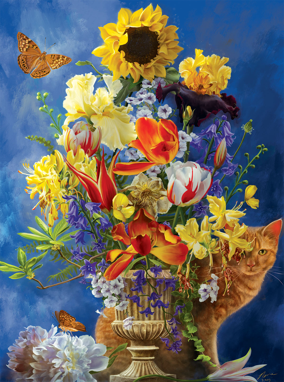 Garden of Gold Cats Jigsaw Puzzle
