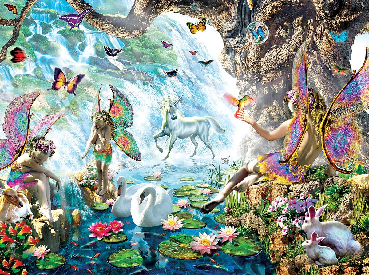 Fairies at the Falls Fantasy Jigsaw Puzzle