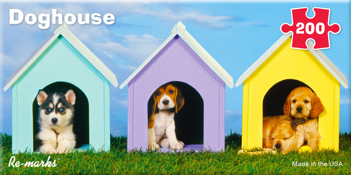 Doghouse Pano Dogs Jigsaw Puzzle
