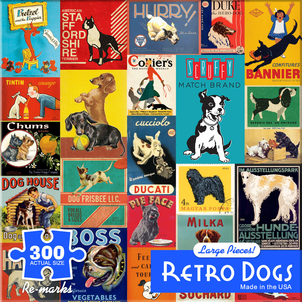 Retro Dogs Dogs Jigsaw Puzzle