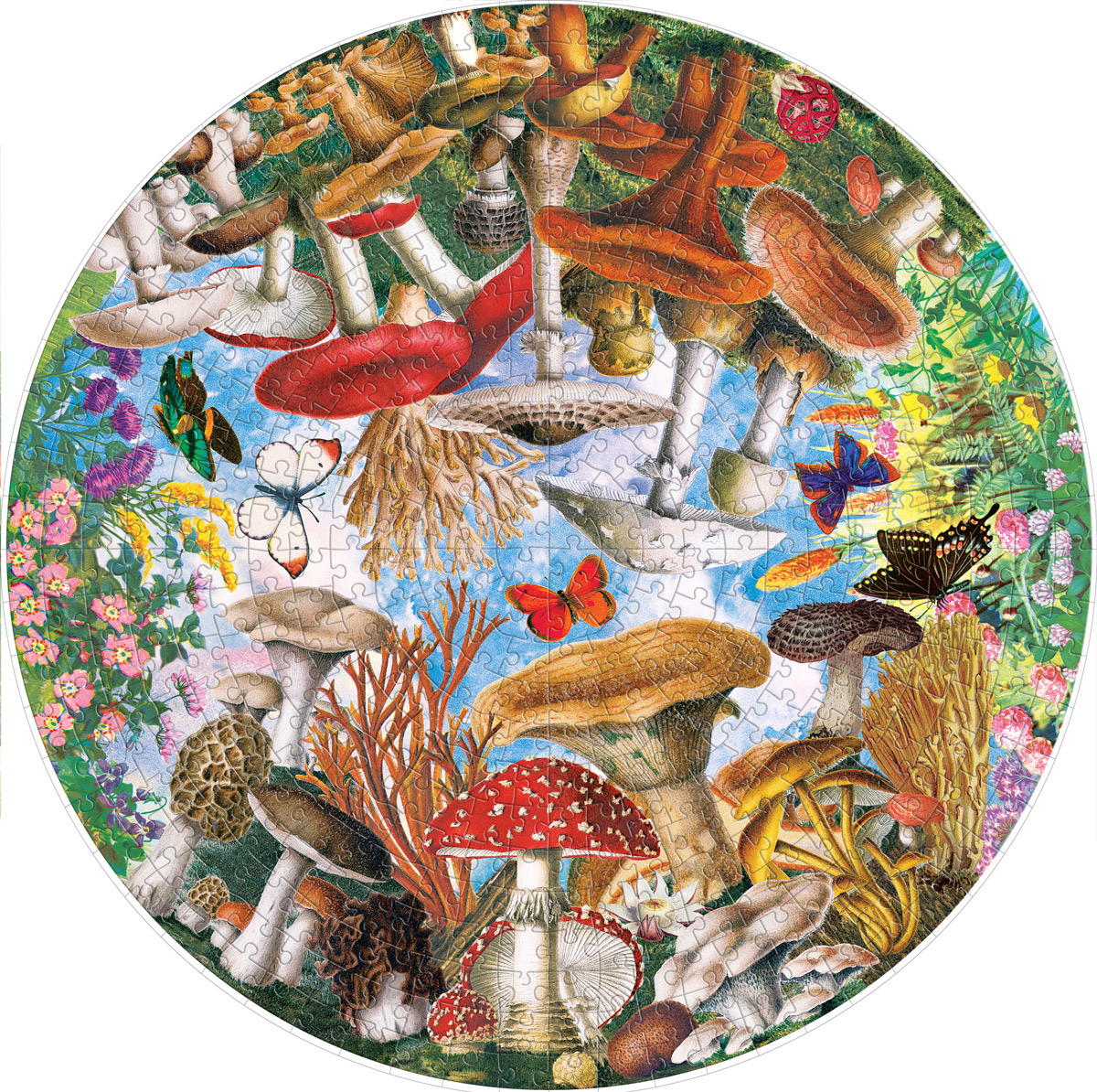 Mushrooms and Butterflies Butterflies and Insects Jigsaw Puzzle