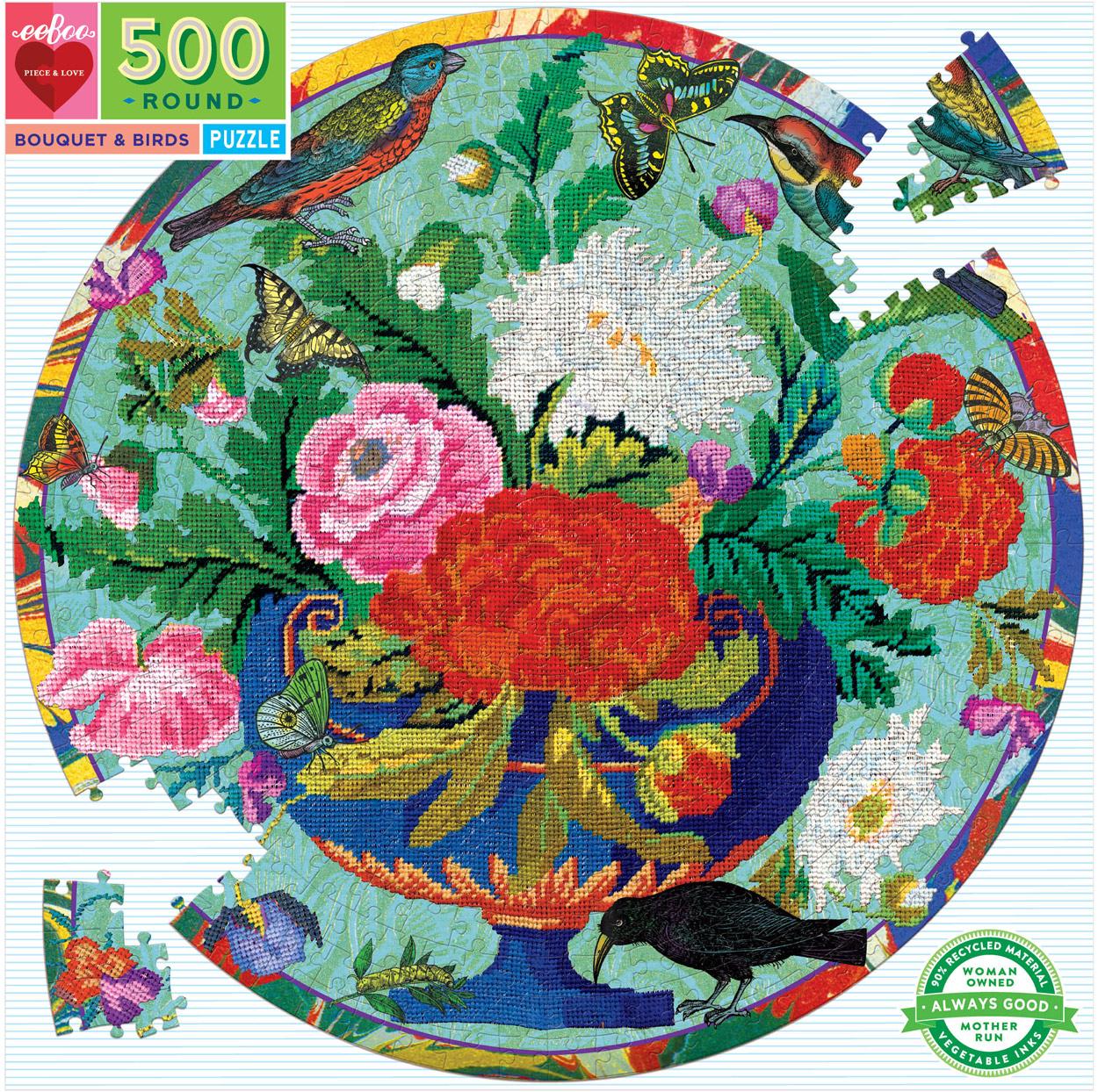 Bouquet & Birds Birds Round Jigsaw Puzzle
