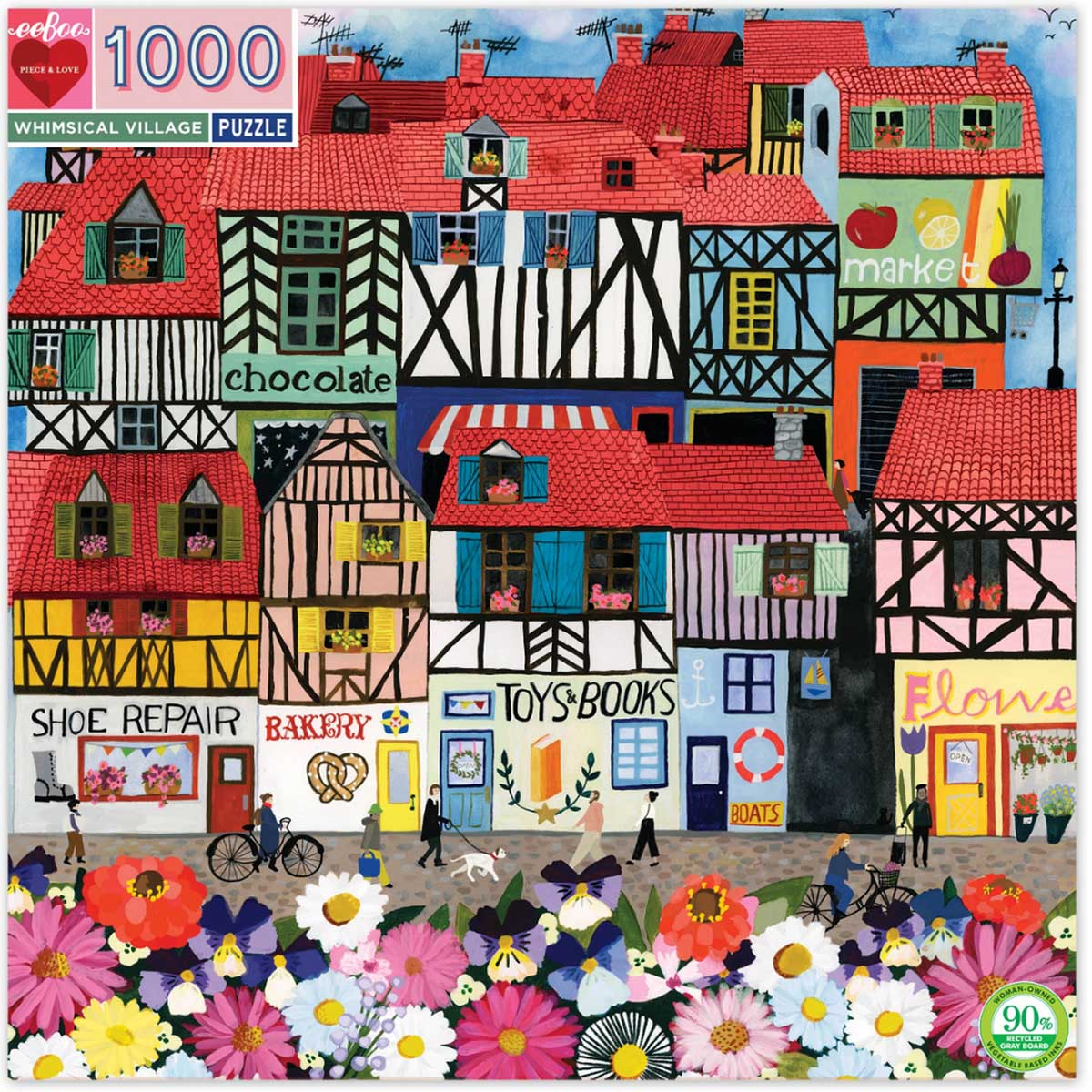 Whimsical Village Street Scene Jigsaw Puzzle