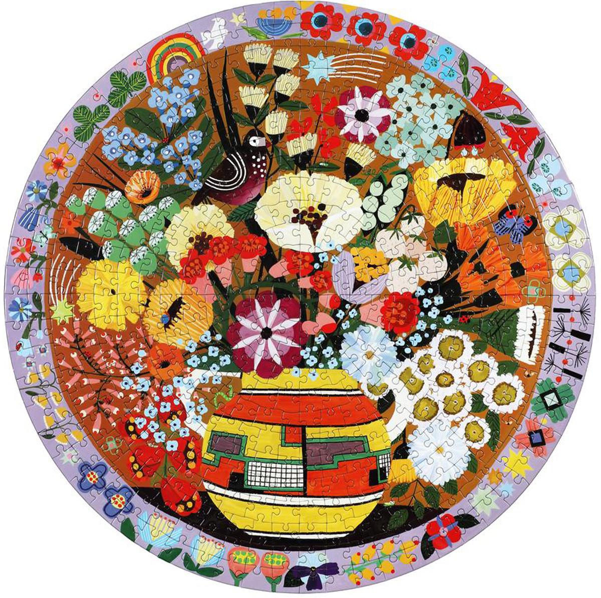 Purple Bird and Flowers Flowers Jigsaw Puzzle