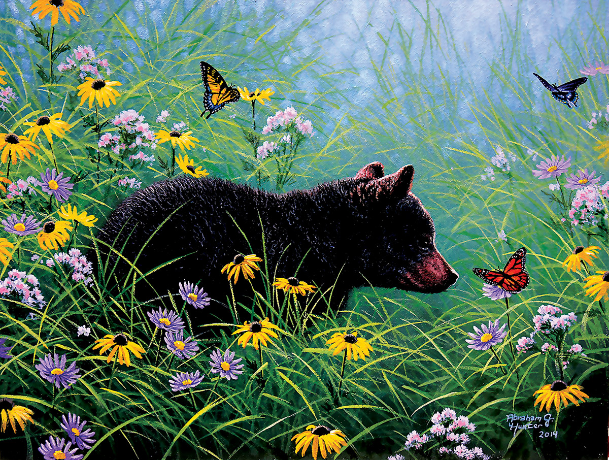 Black Bear and Butterfly Butterflies and Insects Jigsaw Puzzle