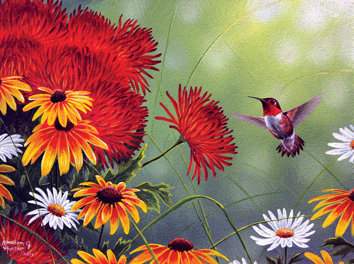 Hummingbird and Red Flower Birds Jigsaw Puzzle